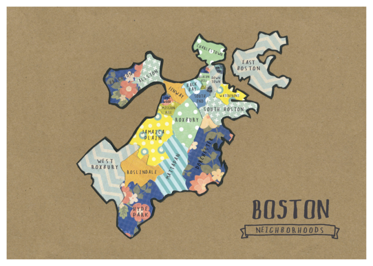 Boston Map by NU Alum Helen Shroeder