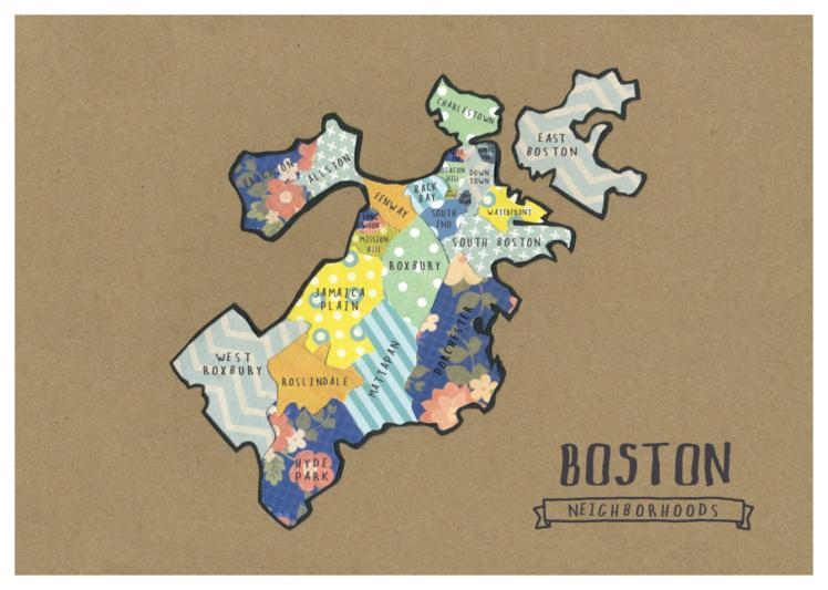 Boston Map by NU Alum Helen Shroeder