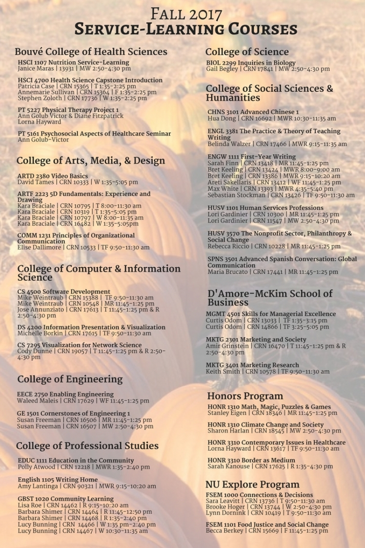 Fall 2017Service-Learning Courses (6)