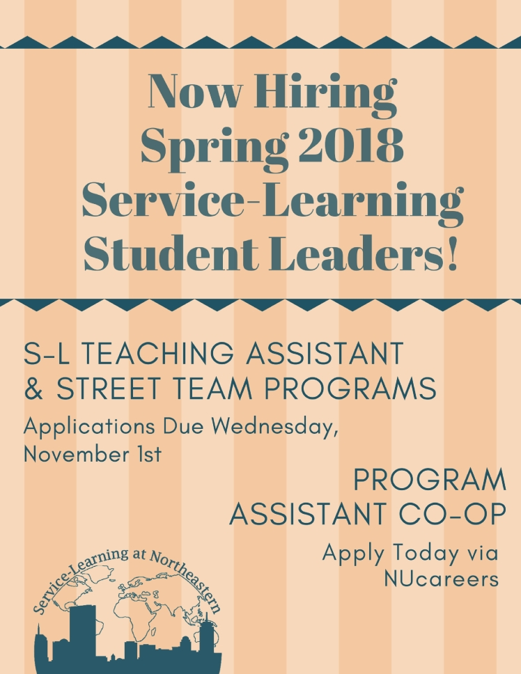 Now Hiring Spring 2018 Service-Learning Student Leaders (4)