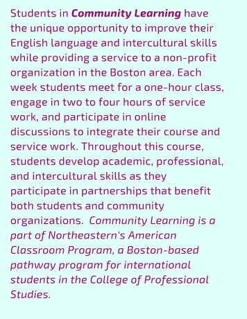 Offers an introduction to community learning, social justice, and cross-cultural collaboration in Boston. The main objective is to help students prepare for, gain from, and reflect upon